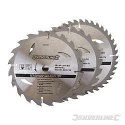 3 lames scie circulaire carbure de tungstène 20, 24 et 40 dents 190 x 16 mm - sans bague de réduction