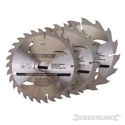 3 lames scie circulaire carbure de tungstène 16, 24 et 30 dents 150 x 20 - bague de réduction de 16 et 12,75 mm