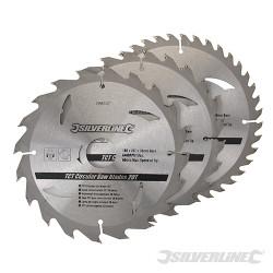 3 lames scie circulaire carbure de tungstène 20, 24 et 40 dents 180 x 30 mm - bague de réduction 20 ,16 mm