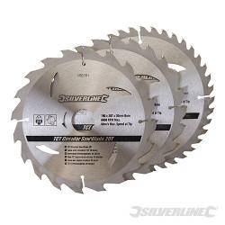 3 lames scie circulaire carbure de tungstène 20, 24 et 40 dents 190 x 30 mm - bague de réduction 25, 20 mm
