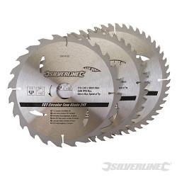 3 lames scie circulaire carbure de tungstène 24,40,48 dents 210 x 30 mm - bagues de 25 et 16 mm