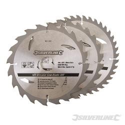 3 lames scie circulaire carbure de tungstène 20, 24 et 40 dents 184 x 30 mm - bague de réduction 20 ,16 mm