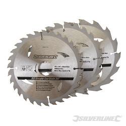 3 lames scie circulaire carbure de tungstène 16, 24 et 30 dents 165 x 30 - bague de réduction de 20,16,10 mm