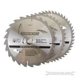 3 lames scie circulaire carbure de tungstène 24,40,48 dents 235 x 30 - bagues de 25 et 16 mm