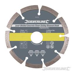 Disque diamant soudé au laser à tronçonner le béton et la pierre 115 x 22,23 mm à bordure segmentée