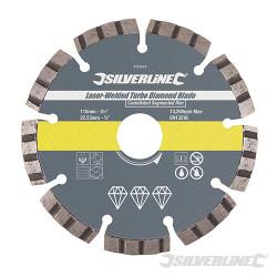 Disque diamant soudé au laser Turbo 115 x 22,23 mm à bordure segmentée crénelée