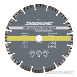 Disque diamant soudé au laser Turbo 230 x 22,23 mm à bordure segmentée crénelée