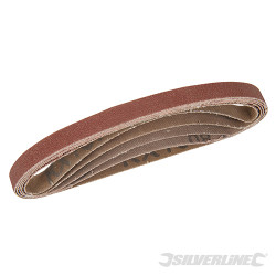 Lot de 5 bandes abrasives 10 x 330 mm 40, 60, 2 x 80 et 120 G