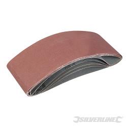 Lot de 5 bandes abrasives 100 x 610mm Grains assortis : 40, 60, 2 x 80 et 120