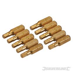 10 embouts dorés 6 pans Embout hexagonal 4 mm