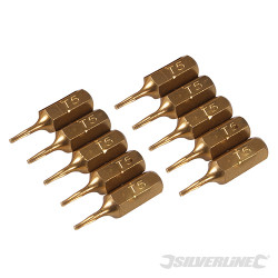 10 embouts dorés Torx T5