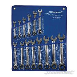 Trousse de 14 clés mixtes à cliquet à tête droite 8 - 24 mm