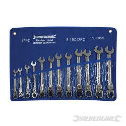 Trousse de 12 clés mixtes à cliquet à tête inclinable 8 - 19 mm