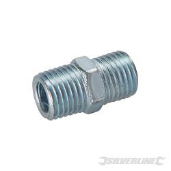 Coupleur rapide à deux extrémités filetées pour tuyau air comprimé 1/4 BSP