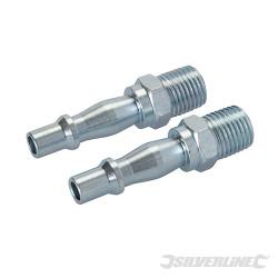 2 coupleurs baïonnette/filetage pour tuyau air comprimé 1/4 BSP