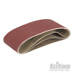 Lot de 3 bandes abrasives pour la ponceuse à bande compacte Triton TCMBS120G 3 bandes abrasives grain 120