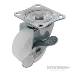 Roulette pivotante polypropylène à frein 50 mm 50 kg