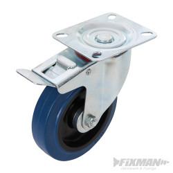 Roulette pivotante en caouthcouc avec frein 125 mm 180 kg bleue