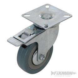 Roulette pivotante caoutchouc à frein 75 mm 50 kg