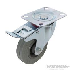 Roulette pivotante caoutchouc à frein 100 mm 70 kg