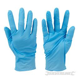 100 gants nitrile non poudrés jetables Bleu Large